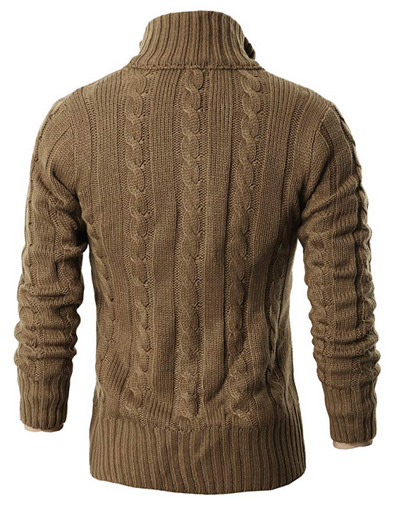 fed36702a4 H2H Mens Casual Stand Collar Cable Knitted Button Down Cardigan Sweater ...